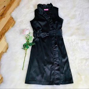 ❣️HP❣️Eliza J Black Satin Wrap Dress, size 6